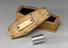 Metal cylinder in a coffin-shaped oak container, presented to Sir Monty Finniston. Dedication, 'Einstein to Finniston /