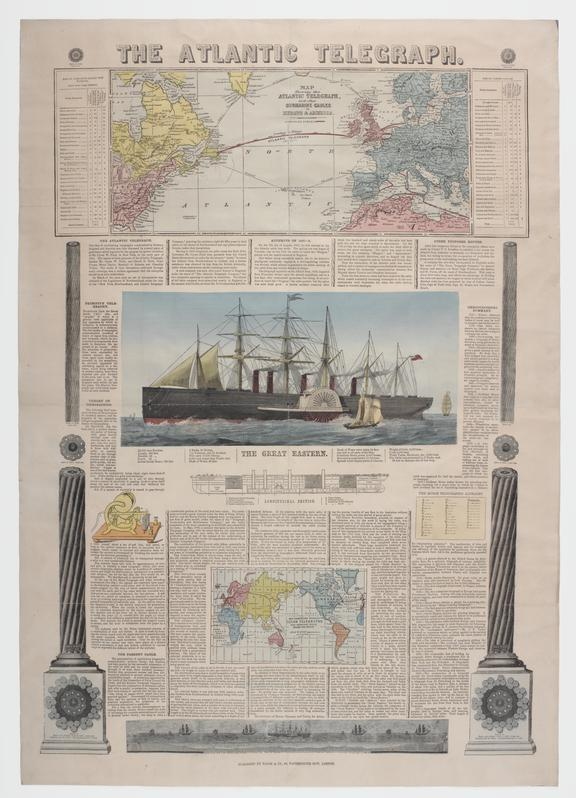 Large printed sheet with hand-coloured engravings entitled 'The Atlantic Telegraph', describing the laying of the first