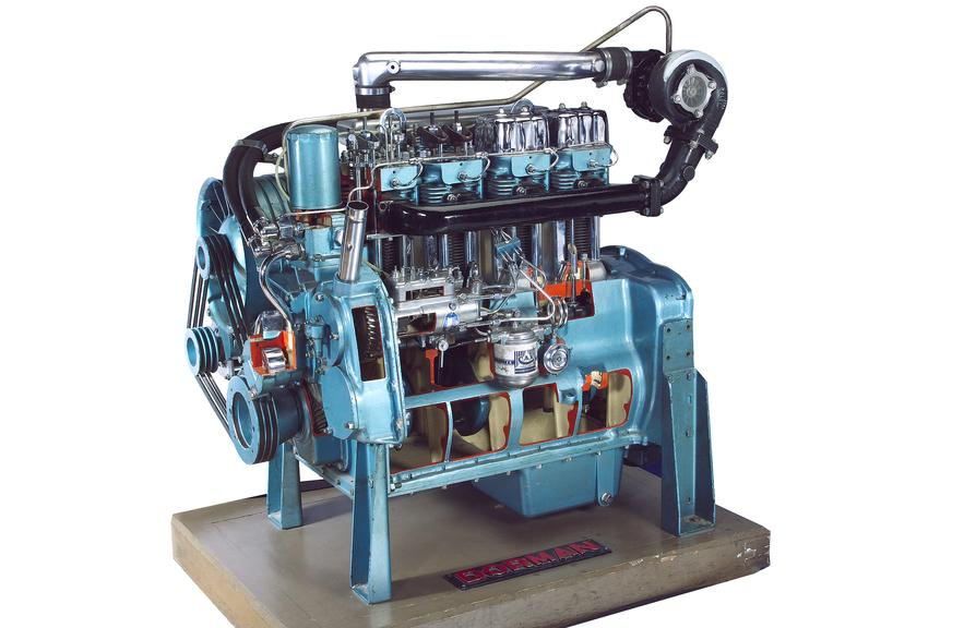 Dorman 4DAT Diesel Engine, sectioned. Side three quarter view, cutout, on background.