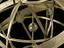 Ptolemaic armillary sphere. Cropped detail view for gallery use. Black background.