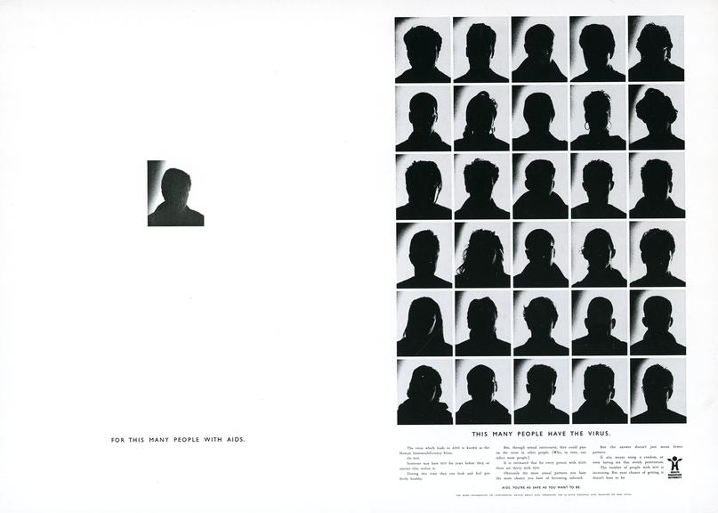 Poster; 'For this many people with AIDS... This many people have the virus', with information about HIV and AIDS,
