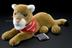 """'Clarion"""" Cougar' soft toy with cochlear implant, by Advanced Bionics UK Ltd., 1999.       Full view, graduated matt black"""