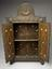Cabinet, embossed and engraved with Islamic motifs, brass, persian (?), 1400-1850.       Image of cabinet open showing