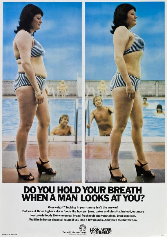 Poster, relating to health eating and exercise, featuring two images of an overweight woman walking past a group of