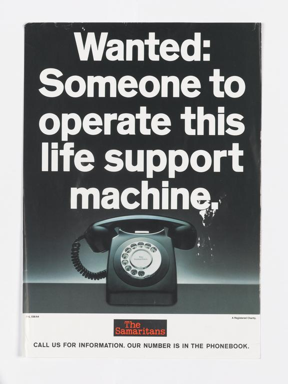 One of two posters displayed at the Samaritans, Manchester Branch, unknown maker, British, 1965-1990.  Two posters: