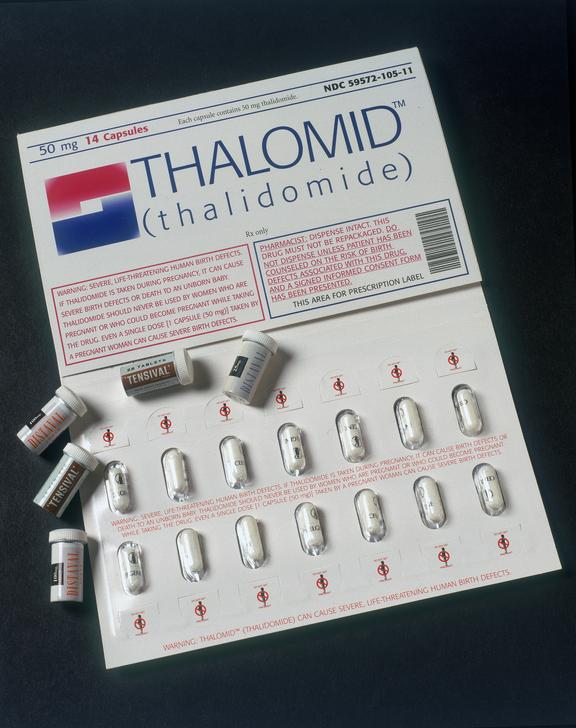 Thalidomide capsules.       (1988-243/28) 24x25mg of Distaval tablets (thalidomide), in metal container, by The Distillers