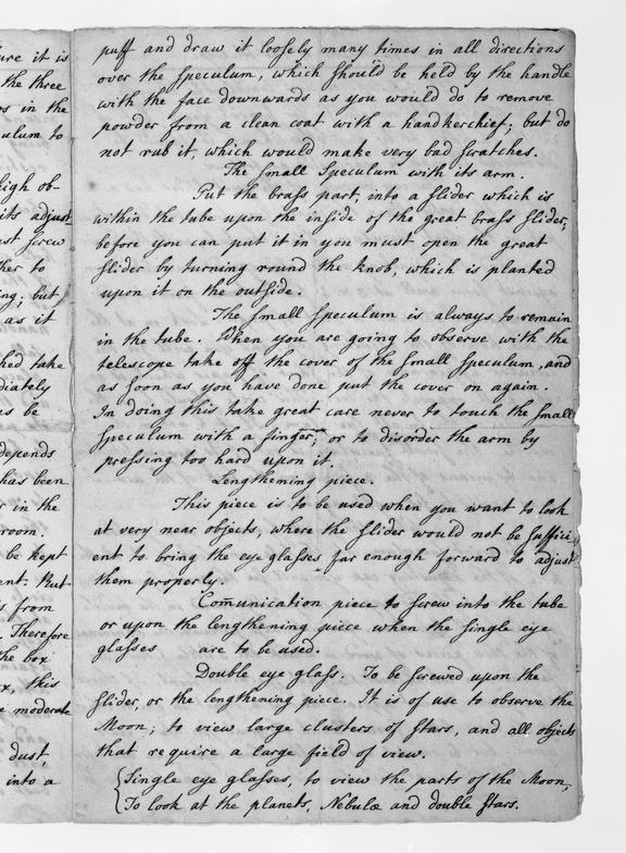 Page from Pamphlet written in the hand of William Herschel giving instructions for the use of his Newtonian reflecting