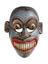 Carved wooden sanni mask, polychrome, representing grey-faced demon with long supper fangs, worn in tovil dance to