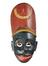 Painted wooden face-mask probably representing negro character in kolam play, with tall red kepi-type headdress, Sri