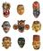 Painted wooden face masks worn during rituals.  SCM - Oriental Medicine