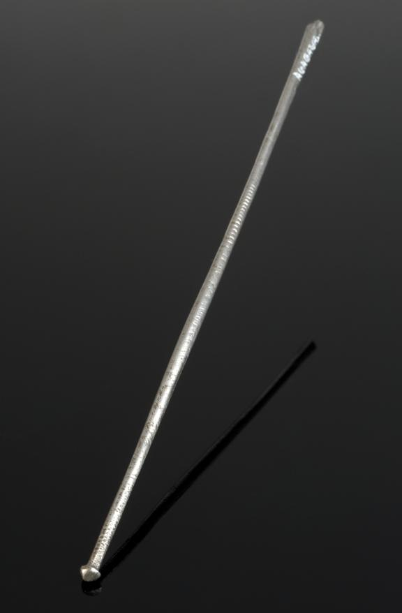 Probe(?), steel, possibly Japanese.       Full view, graduated matt black perspex background.
