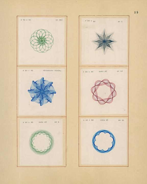 Scrapbook of spirograph drawings made with harmonograph invented by Frederick Corder.  Copywork