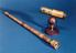 (Left) Facsimile of telescope by Galileo with main tube measuring  2-foot, 8 1/2-inches and magnification of 21 times.