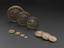 Queen Elizabeth's third set of Exchequer standard avoirdupois weights from 8lb to 1/8oz eleven flat circular nested