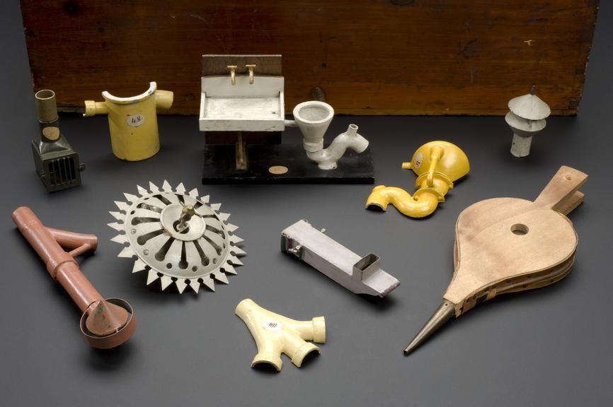 South Kensington Hygiene cabinet. Detail view of various contents.