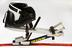 Shadow Mono-ski' sports wheelchair with accompanying hand held guide skis, for alpine events, manufactured by Quickie