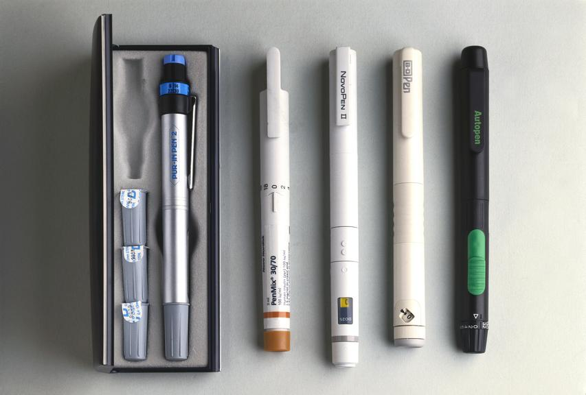 A variety of insulin pens, 1985-93.