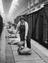 Female worker unloading sack from railway wagon onto conveyer belt in goods depo