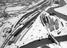 Coal wagons at Lowfield junction near Doncaster in the snow, aerial view of yard