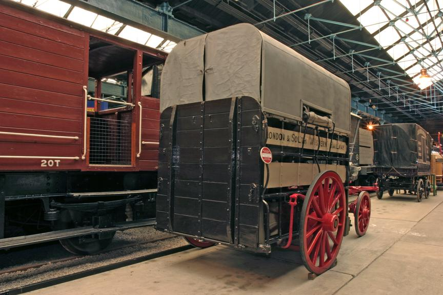 LSWR, ex Waterloo station, Horse Ambulance with stretcher and horse inside.