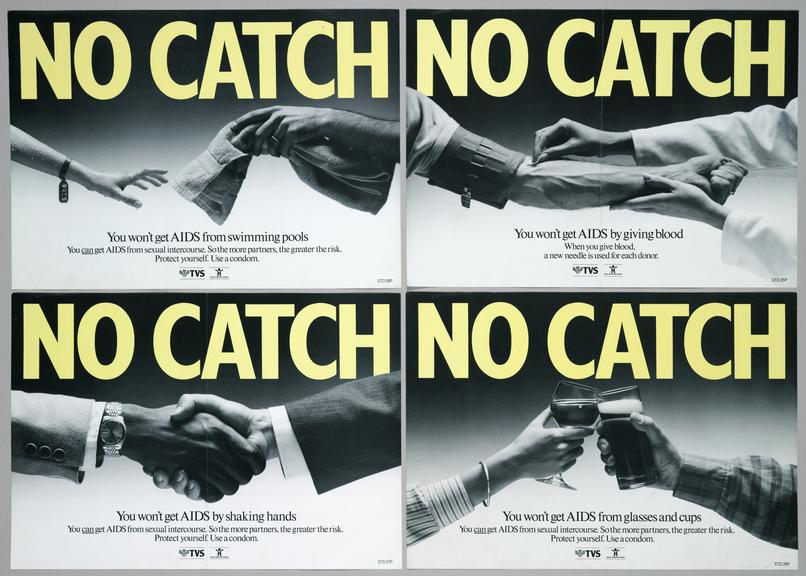 """Top left to bottom right, 1999-241/14 poster,  """"No catch""""  AIDS which states you will not get AIDS from swimming pools,"""