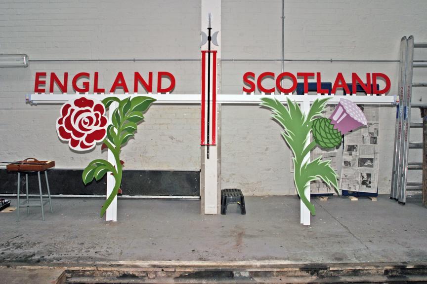 London & North Eastern Railway England/Scotland border sign, 2006.