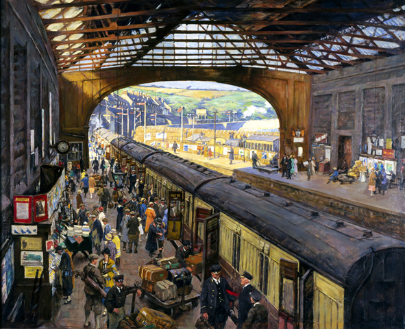 Oil painting by Alexander Stanhope Forbes (1857-1947) showing passengers boarding a train at Penzance, whilst baggage